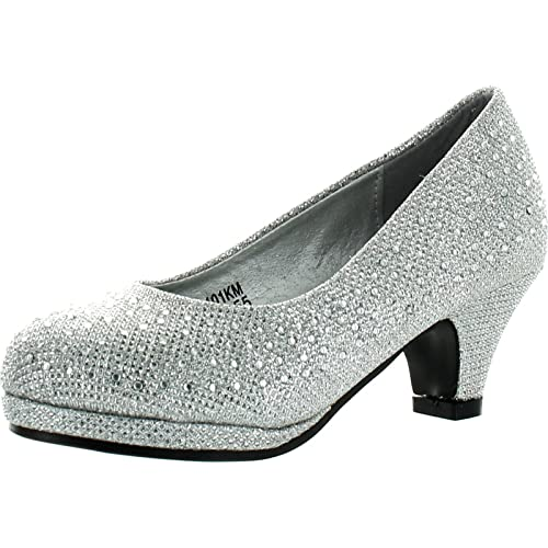 191e1f02fa83 KP 101 K Little Girls Rhinestone Heel Platform Dress Pumps Silver