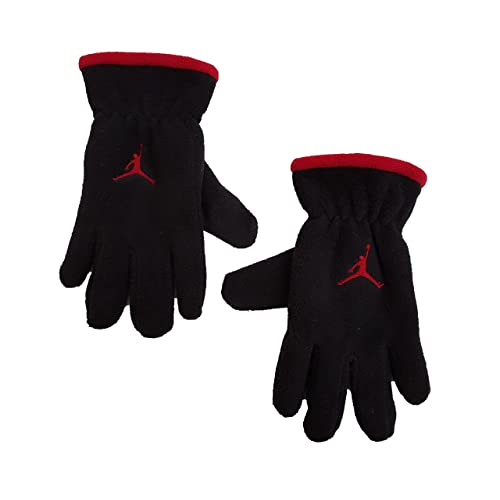2193b52485bd Nike Jordan Youth 8 20 Fleece Lined Gloves Black with Red Jumpman Logo