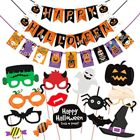 Halloween Party Items.Wobbox Halloween Party Prop Photo Booth Props Diy Kit With Bunting Banner For Party Supplies Featuring Boo Pumpkin Ghost Halloween Decorations Photo Booth Props Combo Ys Amazon In Toys Games