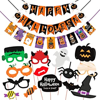 WOBBOX Halloween Party Prop Photo Booth Props DIY Kit with Bunting Banner for Party Supplies Featuring Boo Pumpkin Ghost H...