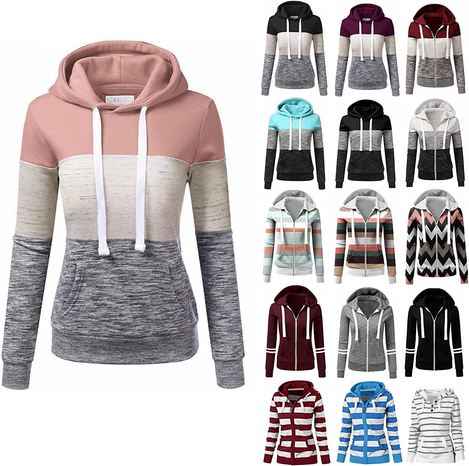 Fudule Long Sleeve Sweatshirts for Women, Teen Girls Zip Up Hoodie Patchwork Shirts Casual Loose Fitting Hooded Pullover