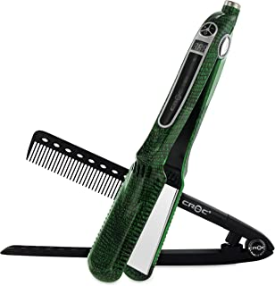 CROC Skin Flat Iron Hair Straightener – Ceramic Titanium Floating Plates with Comb Hair Clips Comfort Handle Dual Voltage Heat Up To 450℉