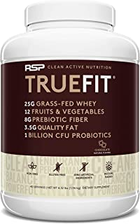 RSP TrueFit (4.32LB) - Grass Fed Lean Meal Replacement Protein Shake, All Natural Whey Protein Powder with Fiber & Probiotics, Non-GMO, Gluten-Free & No Artificial Sweeteners, Choc (Pack May Vary)