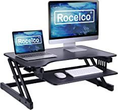 "Rocelco ADR Basic Height Adjustable Sit/Stand Desk Computer Riser, Dual Monitor Capable, 50lb Capacity, 32"" With Retractab..."
