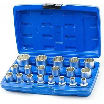 Vielzahn Satz 3//8 Zoll 12-kant Steckschlüssel Werkzeug Set Torx Nüsse 8-19 mm