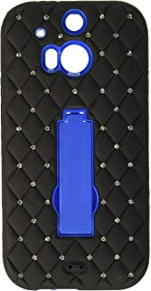 غطاء واقي بحامل متعارف مع الماس لهاتف HTC One M8 - التعبئة والتغليف للبيع بالتجزئة - أسود / أسود