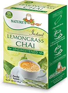 Nature's Guru Instant Lemongrass Chai Tea Drink Mix Unsweetened 10 Count Single Serve On-the-Go Drink Packets