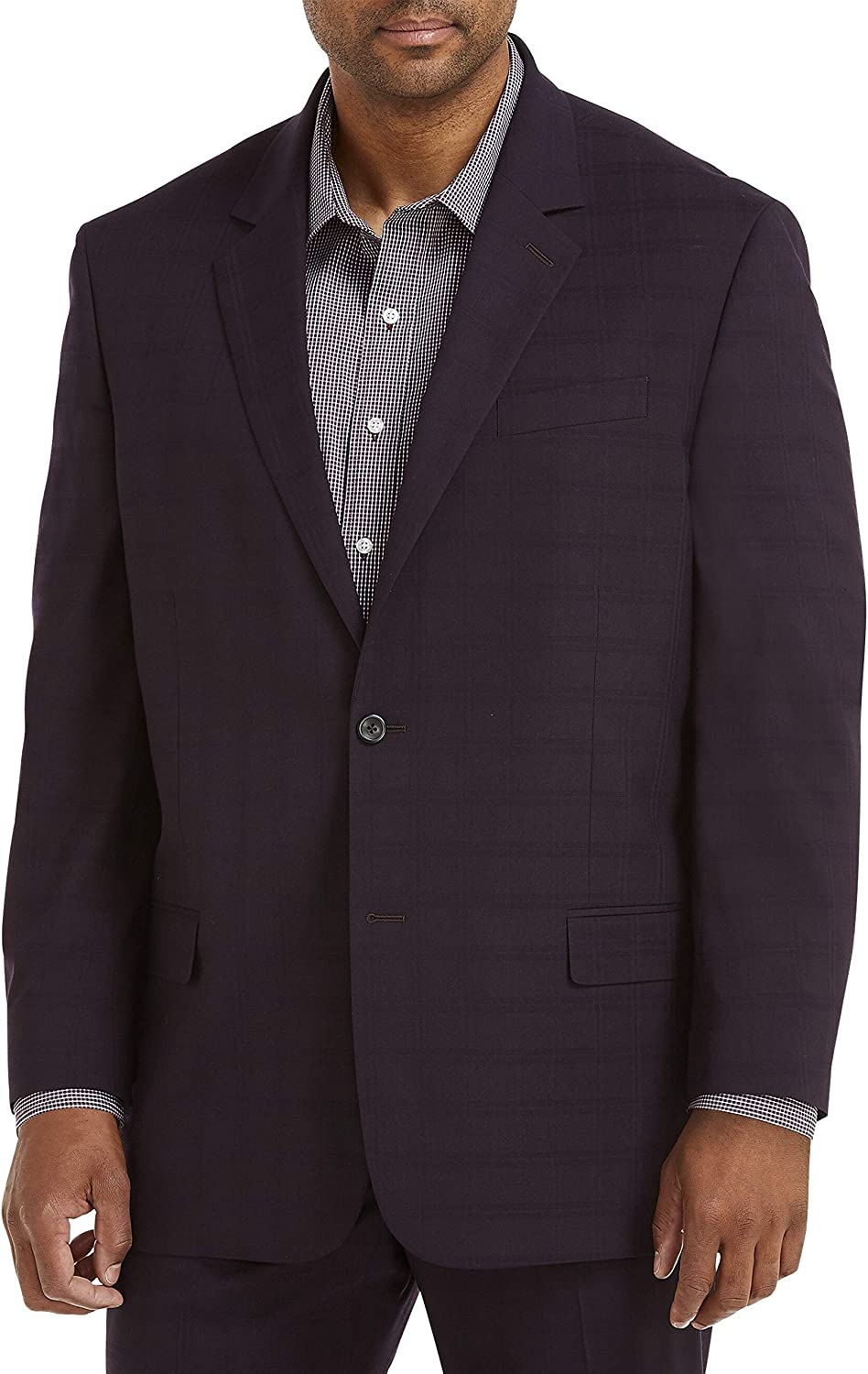DXL Gold Series Big and Tall Easy Stretch Plaid Suit Jacket, Burgundy