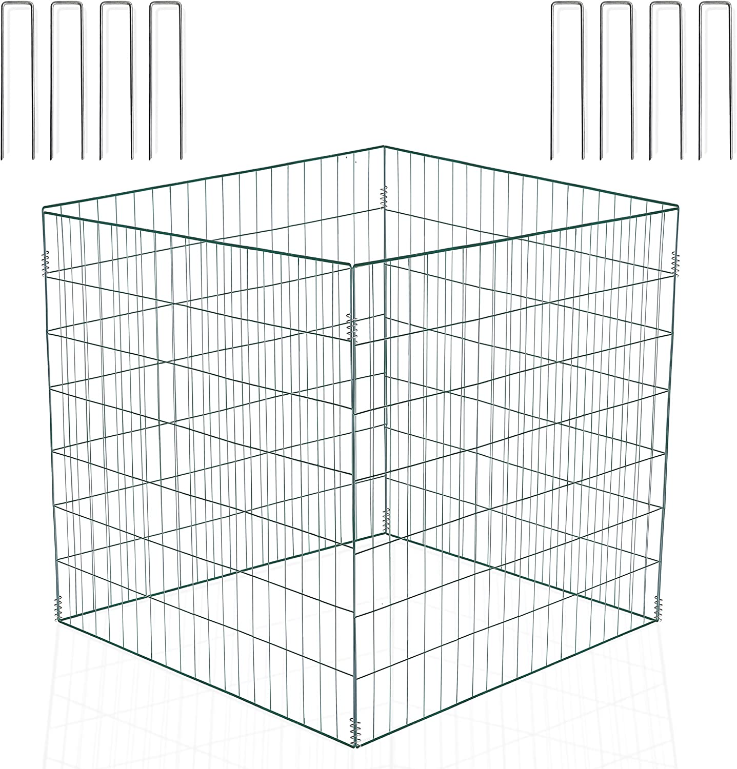 llevantics Wire Compost Bin 36x36x28 inch, Leaf Mesh Composter for Garden and Outdoors, Holds up to 150 Gallons, Durable Green Powder-Coated Steel, Foldable, with 8 U-Shaped Garden Ground Staples