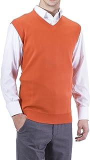 Alberto Cardinali Men's Solid Color V-Neck Sweater Vest