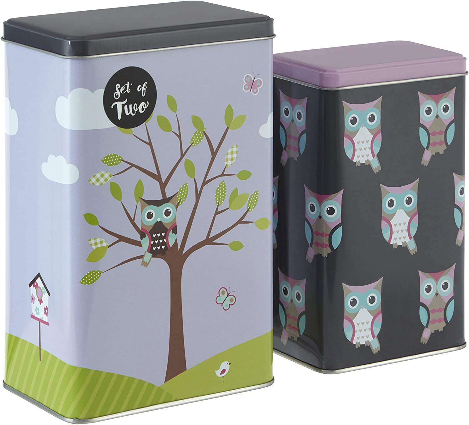Premier Housewares Max 71% OFF Happy Owls Canisters Max 79% OFF Storage Rectangular Se
