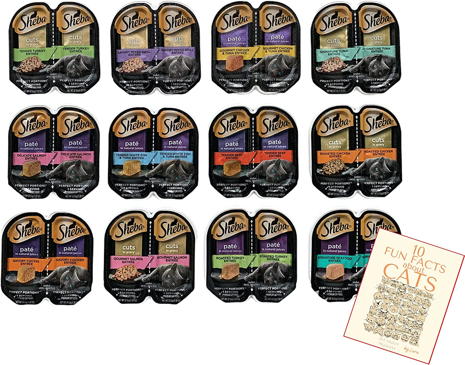 Sheba Perfect Portions Pate Wet Cat Food Cuts in Gravy Variety Pack All Flavors, Beef, Chicken, Salmon, Turkey, Tuna, White Fish, Multipack (24 Servings) with Lara's Booklet Bundle