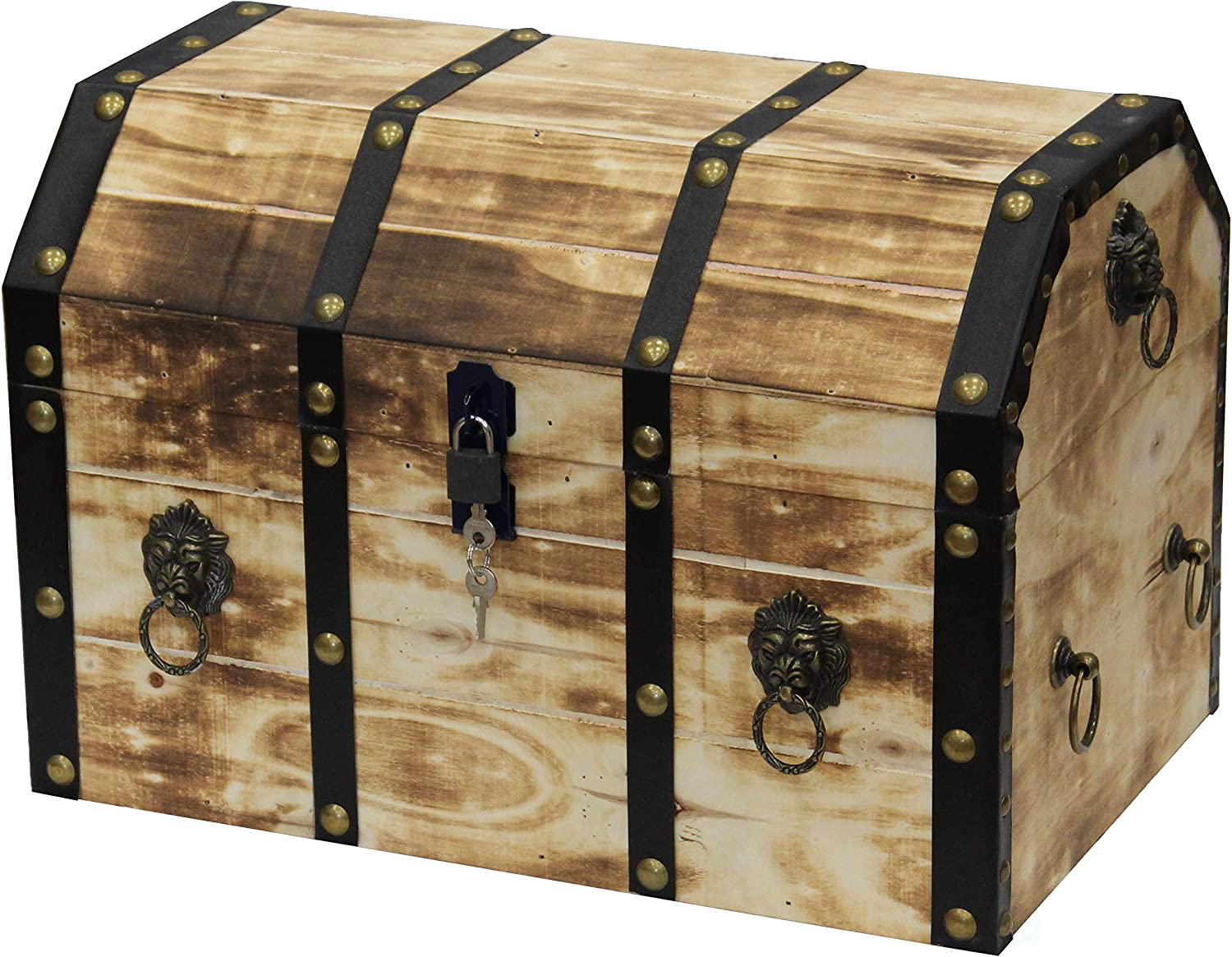 Vintiquewise QI003319L Large Wooden Decorative Lion Rings Pirate Trunk with Lockable Latch and Lock, Natural