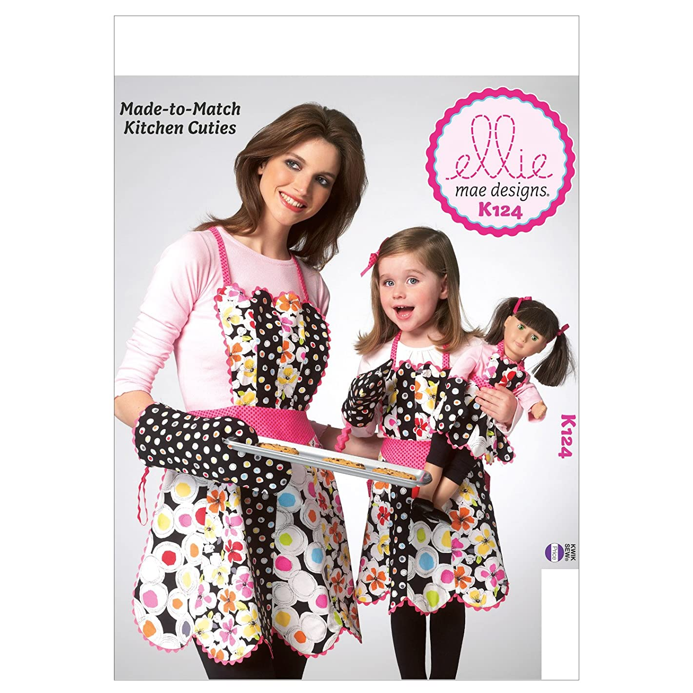 KWIK-SEW PATTERNS K0124 Adult/Children Doll Aprons and Mitt Sewing Template, 18-Inch