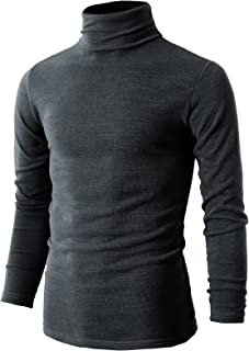 H2H Mens Casual Slim Fit Pullover Sweaters Knitted Turtleneck Thermal Basic Designed