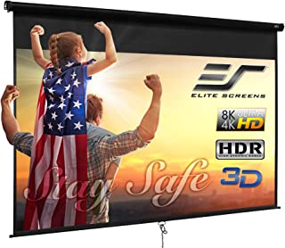 Elite Screens Manual B, 120-INCH 16:9, Manual Pull Down Projector Screen 4K / 8K Ultra HDR 3D Ready with Slow Retract Mech...