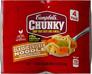 Campbell's Chunky Soup, Classic Chicken Noodle with White Meat Chicken, 18.6 Ounce, 4 Count (Pack of 2)