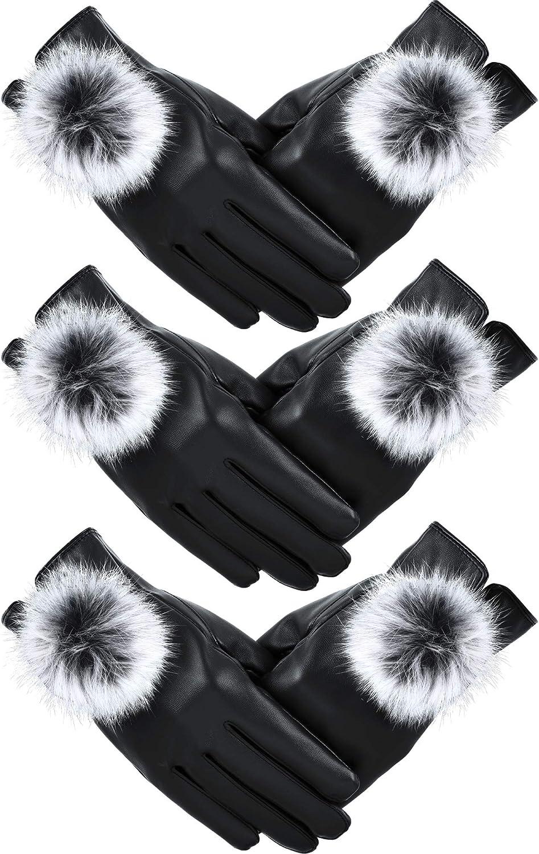 Women Leather Gloves Winter Warm Mitten Gloves Touchscreen Gloves with Fur Ball (Black, 3)
