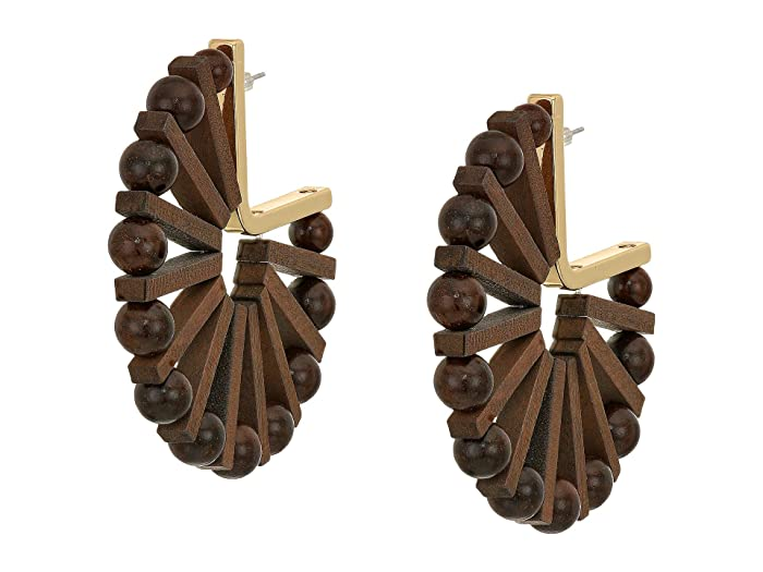 Steve Madden  Wooden Bead Gold-Tone Hoop Earrings (Yellow Gold-Tone/Brown) Earring