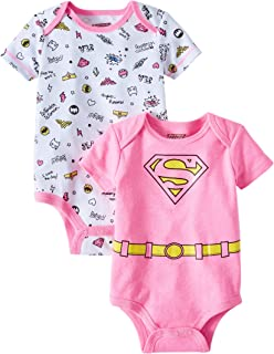 Supergirl Super Hero Themed Infant Bodysuit 2-Pack Pink White Tee-Shirts 0-3 Month Size