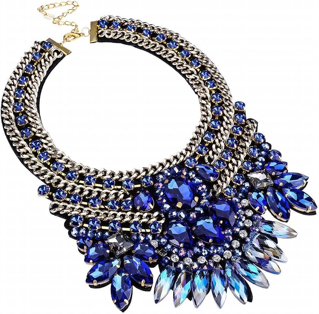 Crystal Rhinestone Statement Necklace Christmas Gift, Chunky Collar Choker Bib Pendant Statement Necklace Fashion Necklace Jewelry for Women