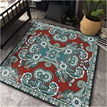 Retro Square Carpet,Children Crawling Blanket,Anti-Slip Foot Pad,Foldable/Easy Clean Rugs,Bedroom/Sofa/Living Room/Coffee ...