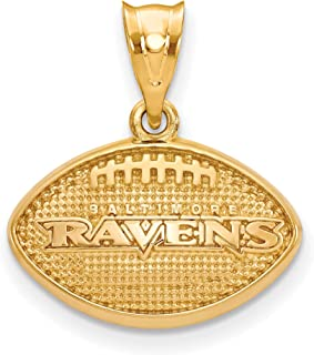 Kira Riley Gold Plated Baltimore Ravens Football Pendant for Chains and Necklaces