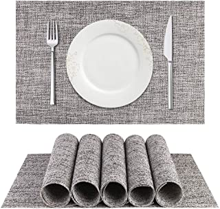 BETEAM Placemats, Heat-Resistant Placemats Stain Resistant Anti-Skid Washable PVC Table Mats Woven Vinyl Placemats, Set of 6(Smoky Gray)