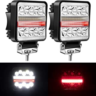 Yorkim Offroad 4x4 Led Fog Lights Red & White Combo I-Shape with Flash Strobe, Offroad Led Pod Light Cube, Offroad Led Flood Lights, 4x4 Led Spot Lights For Truck Jeep SUV
