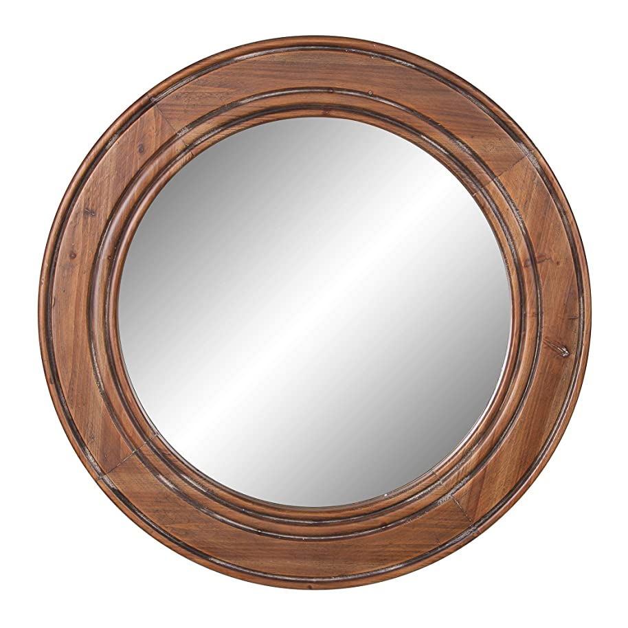 Reclaimed Wood Large Round Wall Accent Mirror