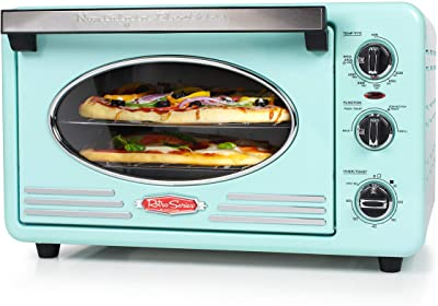 Nostalgia RTOV2AQ Large-Capacity 0.7-Cu. Ft. Capacity Multi-Functioning Retro Convection Toaster Oven, Fits 12 Slices of Bread and 2-12-Inch Pizzas, Built In Timer, Includes Baking Pan, Aqua