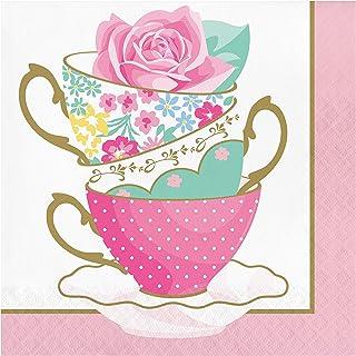 Creative Converting Floral Tea Party Teacup Napkins 16-Pieces, 6.5-Inch Size, Multicolour