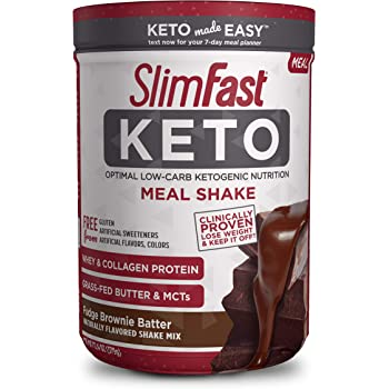 SlimFast Keto Meal Replacement Shake Powder - Fudge Brownie Batter - 13.4 Oz. - 10 Servings - Pantry Friendly