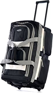 Olympia Luggage 22 8 Pocket Rolling Duffel Bag Black One Size