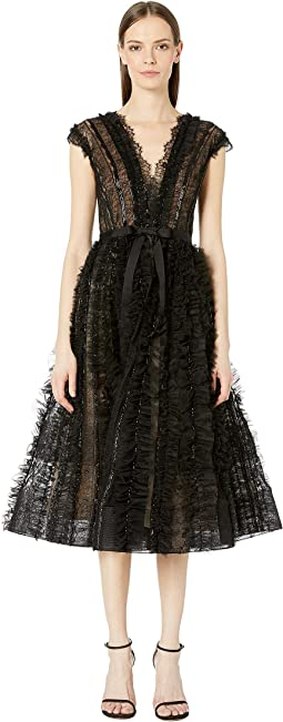 Plunging V-Neckline Tulle Cocktail Dress with Engineered Lace, Bugle Bead, and Tulle Ruffled Stripes