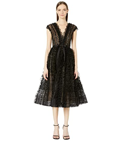 Marchesa Plunging V-Neckline Tulle Cocktail Dress with Engineered Lace, Bugle Bead, and Tulle Ruffled Stripes (Black) Women