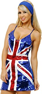 Adults Womens Red Blue 60s Twiggy British Flag Sequin Dress Costume