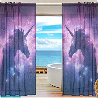 Window Sheer Curtains Purple Clouds Unicorn Digital Printed Polyester Fiber Drapes for Door Kitchen Living Room Bedroom