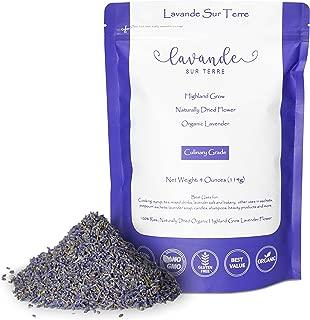 4 Ounces Bag Organic Culinary Dried Lavender Buds - Lavandula Dentata - Highland Grow Ultra Blue Premium Grade - Gluten-Free, Non-GMO - Perfect for Baking, Lemonade, Salt - by Lavande Sur Terre