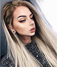 Vedar 2018 New Design - Flawless V Shape Widow's Peak - Realistic Foggy Brown Rooted Platinum Blonde Lace Front Wigs for Women Silky Straight Hair Wig 22 inches Transparent Lace