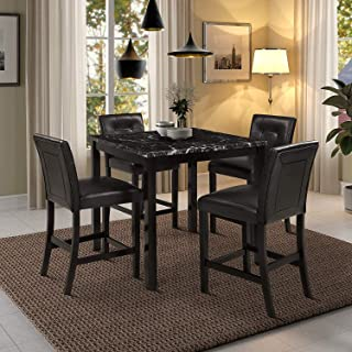 LZ LEISURE ZONE 5-Piece Kitchen Table Set Black Marble Top Counter Height Dining Table Set with 4 Leather-Upholstered Chairs (Top Marble)