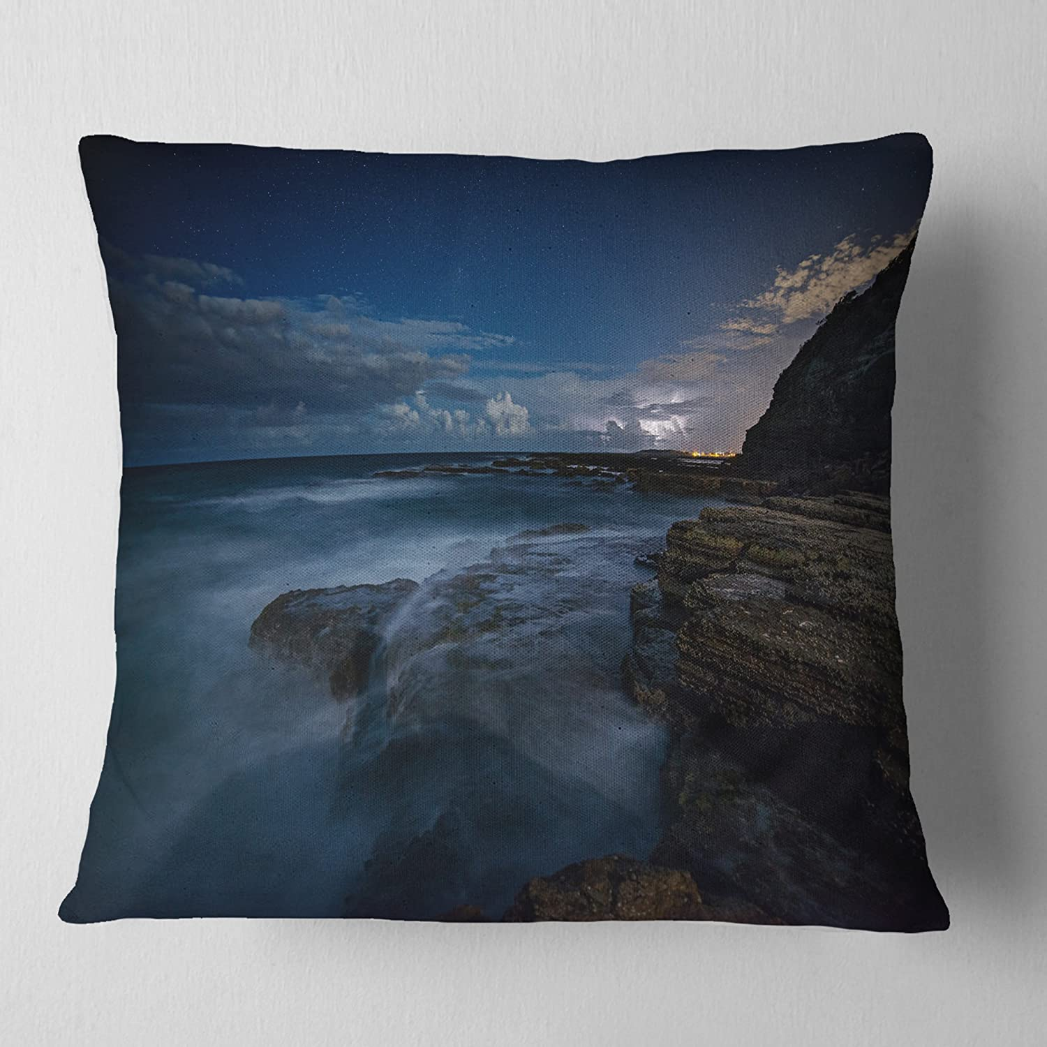 Designart Rocky Blue Ocean At Nighttime Seashore Throw Living Room Sofa Pillow Insert Cushion Cover Printed On Both Side 16 In X 16 In Arts Crafts Sewing