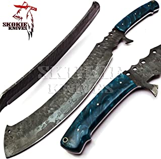 Image of Skokie Knives Custom Hand Made Carbon Steel Hunting Bowie Knife Handle Burl Wood Perfect Grip For Usage 14''