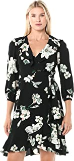 Donna Morgan Women`s Stretch Crepe Floral Printed Wrap Dress
