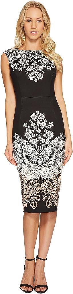 Lacey Scroll Cap Sleeve Sheath Dress