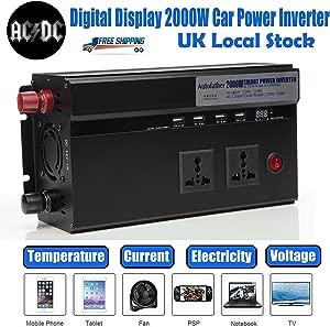 2000W Car Power Inverter Converter 12V 220V Digital Display Dual Outlets USB Charging Ports Cigarette Lighter Sockets Portable Year Warranty Ship