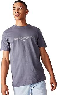 Cotton On Men's Graphic T-shirt, Dusty Denim/Strange Paradise Sketch