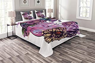 Lunarable Gothic Coverlet Set Queen Size, The Day of The Dead Illustration with Sugar Skull Girl in Festive Flower Wreath, Decorative Quilted 3 Piece Bedspread Set with 2 Pillow Shams, Multicolor