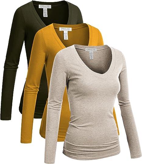 Emmalise Women's Junior and Plus Size Vneck Tshirt Long Sleeves Shirt Tee