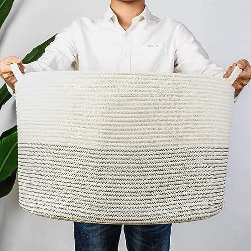 "INDRESSME XXXLarge Cotton Rope Basket 21.7"" x 21.7"" x 13.8"" Woven Baby Laundry Basket for Blankets Toys Storage Baske..."